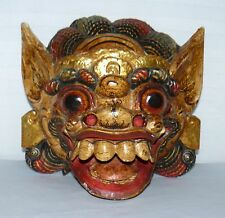 THAI INDONESIAN WOODEN BALINESE BARONG (LION-LIKE CREATURE) MASK WALL HANGING