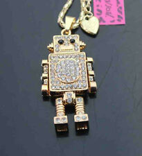 H565    Betsey Johnson Bling Crystal Robot Pendant Sweater Chain Necklace