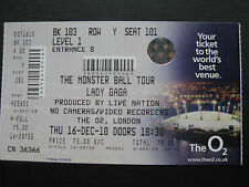 LADY GAGA  LONDON  14/12/2010  TICKET