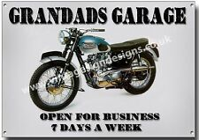 GRANDADS GARAGE METAL SIGN,VINTAGE MOTORCYCLE,GARAGE,TRIUMPH BONNEVILLE.