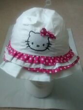 Hello Kitty Sanrio Infant Toddler Girl Embroidered Ruffled White Bucket Hat NEW