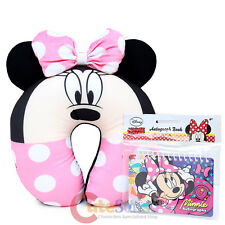 Disney Minnie Mouse Neck Rest Pillow Travel Cushion Pink Bow Ear Car Airplane
