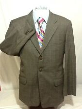 Mens AMITE gray 3 button windowpane sport coat sz 48R