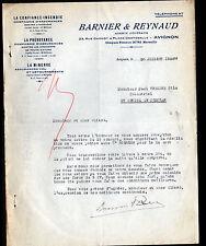 """AVIGNON (84) ASSURANCES """"BARNIER & REYNAUD"""" en 1936"""