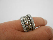Huge 2.5CTW 14K White Gold Natural Champagne & White Diamond Band Ring Size 7