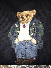 Polo Ralph Lauren 2XL Polo Bear Sweater NWT PREPPY BEAR Navy Blue XXL vintage