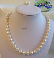 Solid Silver genuine circle 10-11mm freshwater pearl necklace + earring set