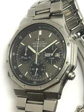 Seiko SQ Mens Quartz Chronograph Sport 100 Stainless Steel Wrist Watch 7A38-7029