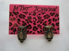Betsey Johnson Red Eyed Owl Stud Earrings