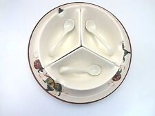 VINTAGE CERAMIC THREE SECTION CONDIMENT DISH/BOWL WITH SERVING SPOONS