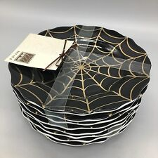 "222 Fifth Spiderweb Appetizer Plates Black Gold Set Of (8) Halloween 6 1/2"" NEW"