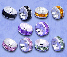 100 Mixed Silver Plated Rhinestone Rondelle Spacers Beads 8x4mm