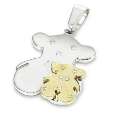 Men's Gold Silver Stainless Steel Cute Bear Charm Pendant Necklace  CP21838
