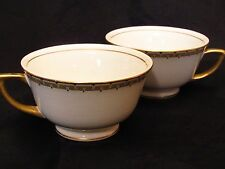 2 Coffee Cups Cleveland China GHB Co CLE-4 Pattern Warranted 18 K Gold Trim