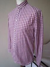 MEN'S PAUL SMITH  FITTED SHIRT  S  MINT  classic/slim fit  checked grey/orange