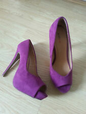 Just Fab Fuchsia Purple Peep Toe Platform Court Shoes Killer Heels Size 7 NEW