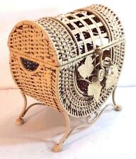 OPEN DESIGN SCROLED WROUGHT IRON WOVEN WICKER LIDDED CHEST OFF WHITE FINISH