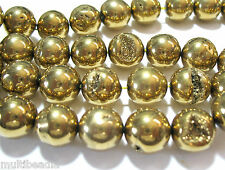Bright Gold Agate 16mm Round w Druzy 12 Big Beads 7.5""