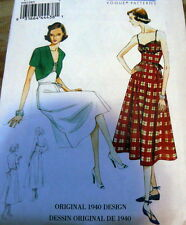 1940s VOGUE VINTAGE MODEL DRESS & JACKET SEWING PATTERN 6-8-10-12-14 UC