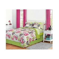 QUEEN Bedding Set For Teen Girl Bed In A Bag Owl Pink Lime Green Zebra Comforter