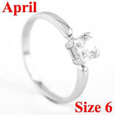 STERLING SILVER APRIL BIRTHSTONE CZ CHILD RING SZ 6