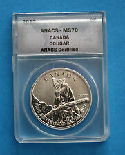2012 $5 Canadian Silver Cougar - ANACS MS70 (lot 1)