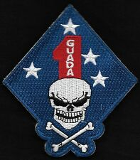 USMC - 1st Marine Division GUADALCANAL Death Skull Hook & Loop Military Patch