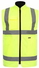 NEW WOMENS MENS HI VIZ VIS BODY WARMER SLEEVELESS WATERPROOF  SECURITY JACKET