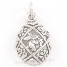 EASTER EGG w Bunny Rabbit Flower Butterfly Charm Pendant 925 Sterling Silver