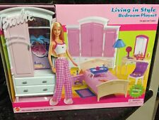 New Furniture BARBIE Living in Style Bedroom Playset Bed Rare