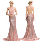 Backless Floral Lace Sequins Pageant Ball Gown Formal Evening Prom Party Dresses