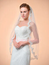 1T Ivory Fingertip Length Lace Edge Bridal Wedding Mantilla Veil w/Comb 130129i