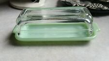 VINTAGE FIRE KING  JADITE  GREEN  CLEAR  GLASS   1/4 LB. STICK BUTTER DISH 1950s