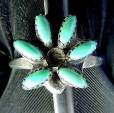 NICE VINTAGE HAND MADE ESTATE STERLING SILVER NEEDLEPOINT TURQUOISE RING SIZE 5