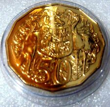 AUSTRALIA: 2015 50 CENT GOLD PLATE CoA LOW MINT 22265 POLISHED DIE SUPER STRIKE