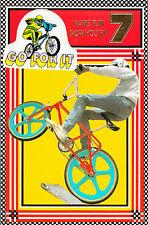 Vintage 1980's BMX Stunt Bike Happy 7th Birthday Greeting Card ~ 7 Years Old