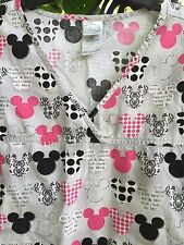 Disney Scrub Top XL Black Gray Pink Mickey Mouse Heads Slit Waist Pockets