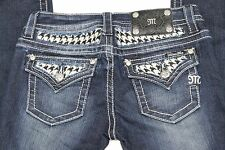 Miss Me Embellished Mid-Rise Skinny Womens Jeans | Drk Den | Size 27x31 | Nwt