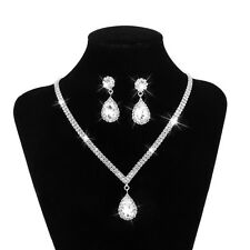 Wedding Bridal Party Teardrop Rhinestone Jewelry Necklace Earring Set Silver
