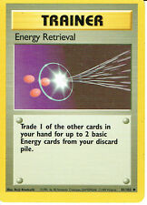 POKEMON BASE SET 1 UNCOMMON CARD 81/102 ENERGY RETRIEVAL X4 COPIES grade 9/10