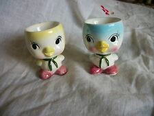 Cute Pair Vintage Figural Ceramic Chick Egg Cups Japan Blue and Yellow