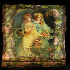 Large Antique Celluloid Victorian Dresser Jewelry Box with Drawer Women Floral