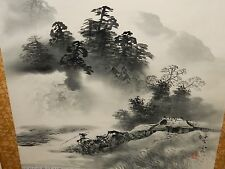 LARGE JAPANESE WATERCOLOR MAN FISHING RIVER LANDSCAPE PAINTING SIGNED