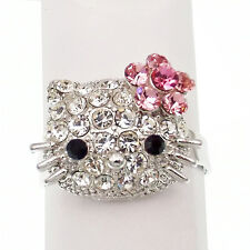 Kitten Kitty Cat Cocktail Ring Costume Jewelry Rhinestone Clear Pink Silver Tone