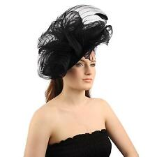 Fancy Derby Disc Swirl Tulle Feather Headband Fascinator Millinery Church Black