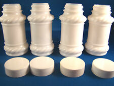 Vintage Set of 4 Milk Glass Pill Medicine Apothecary Spice Bottles Spice Jars