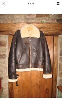VINTAGE FRENCH LEATHER SHEEPSKIN FLYING JACKET ~ SIZE M
