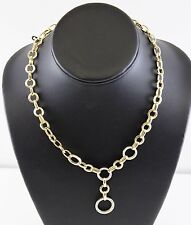 """14k Two Tone Gold Hollow Cable Link Chain Necklace 17"""" SLC Salt Lake 18.02g"""