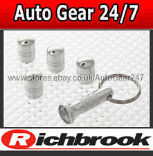 Richbrook Car Van Spinning Anti Theft Silver Chrome Tyre Wheel Valve Dust Caps