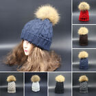 Winter Women's Thick Cable Knit Beanie Hat with Soft 100% Real Fur Pom Pom